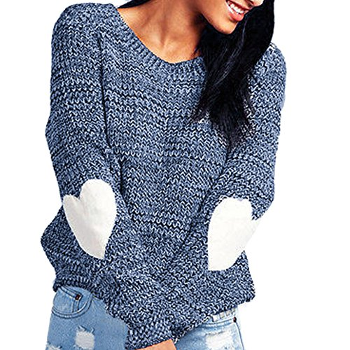 KESEE Clearance ☀Women Heart Pattern Patchwork Loose Cardigan Knitted Sweater Jumper Outwear Round Neck Collar Knits Sweater (M, ()