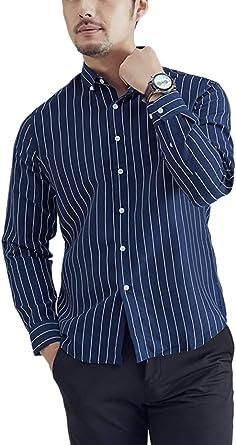 Hombre Camisa Rayas De Algodón Formal Manga Larga Botón Fit Camisas Oficina: Amazon.es: Ropa y accesorios
