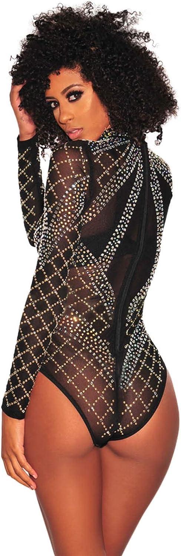 NBBNYJ Body Nero Donna Elegante Vintage Bodysuit Estivi Mesh Daimonds Manica Lunga Blusa Camicie Top Tuta Abbigliamento