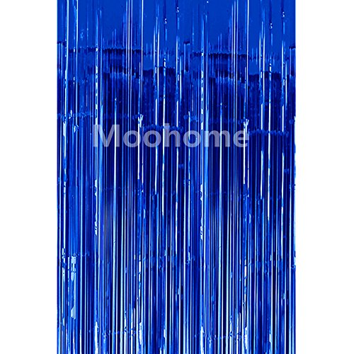 Blue Metallic Fringe (Moohome Big 3ft x 8ft Tinsel Metallic Blue Foil Fringe Curtains Backdrop Door Window Curtain Party Decoration (2-Pack, Blue))