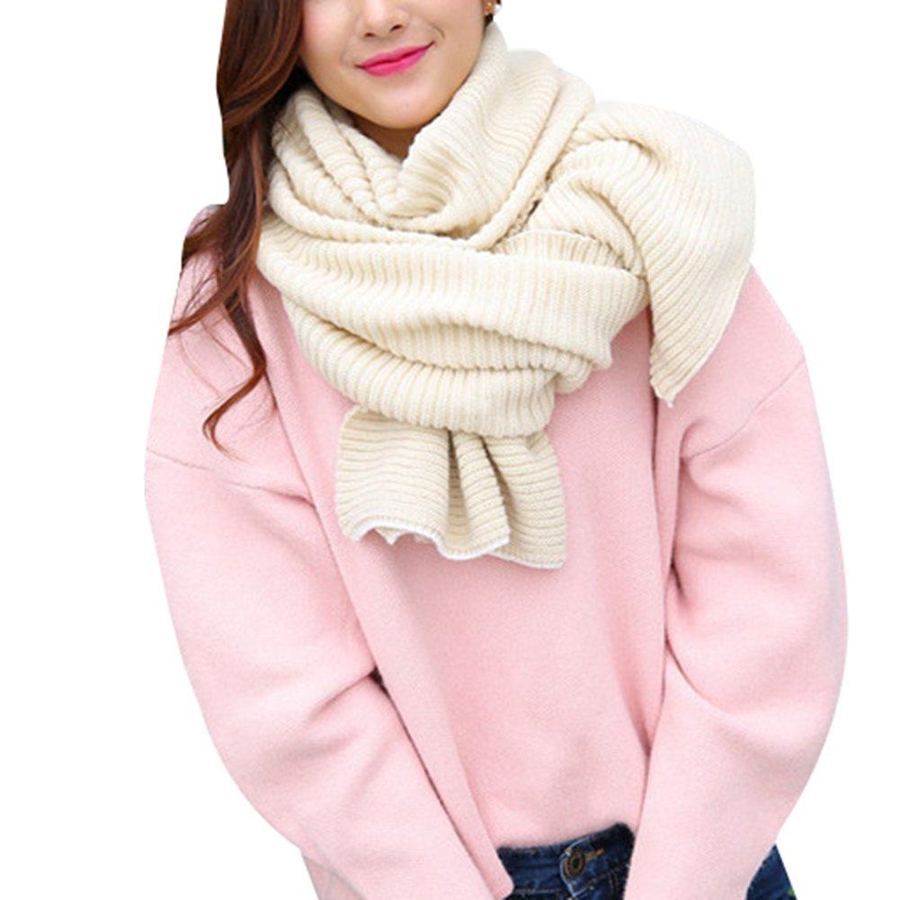 Demarkt Damen lange Strickschal Winterschal Winter Warmer Stricken Schal Schlauchschal aus Baumwolle Rot 180*43cm