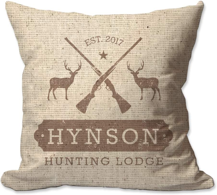 Pattern Pop Personalized Hunting Lodge Textured Linen Throw Pillow