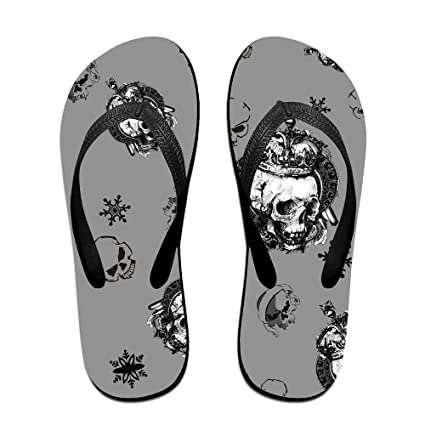 Mens Tiled King Skull With Snowflake Pattern Casual Unisex Soft Flippers Flip Flops