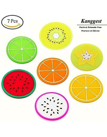 Kanggest 7Pcs Patrón de Rebanada Fruta Posavasos de Silicona para Vino Vidrio Café y Bebidas Decoración