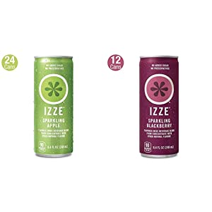 IZZE Sparkling Juice, Apple, 8.4 Fl Oz (24 Count) & Sparkling Juice, Blackberry, 8.4 Fl Oz (12 Count)