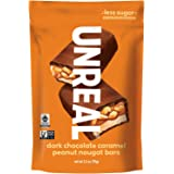 UNREAL Dark Chocolate Caramel Peanut Nougat Bars - Non-GMO, Less Sugar, Fair Trade - 3 Bags