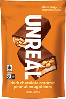 product image for UNREAL Dark Chocolate Caramel Peanut Nougat Bars | Less Sugar, Non-GMO, Fair Trade | 6 Bags