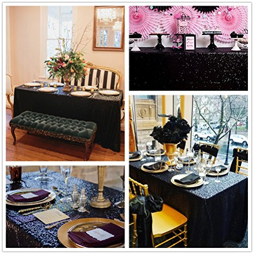 "B-COOL 60""X102"" Black Sequin Table Linens Glitter Tablecloth"