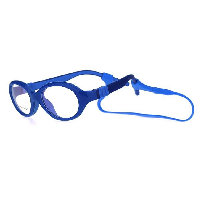 ed8c83f933 Amazon.com  Toddler Size Unisex Oval Round Crush Proof Plastic Clip Arm Optical  Frame Eye Glasses All Blue  Clothing