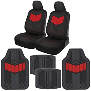 Motor Trend C304 Red ComfortPlush PU Leather Sideless Seat Covers (Front 2pc) & Heavy-Duty Rubber Floor Set (4pc Mat Combo) for Car Auto (Sedan Truck SUV Minivan)