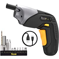 TECCPO Cordless Electric Screwdriver Rechargeable, 4V Max 2000mAh Li-ion