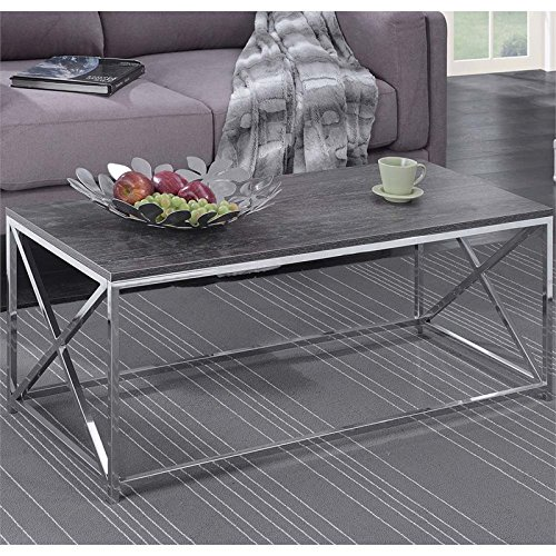 Convenience Concepts Belaire Coffee Table, Chrome/Weathered