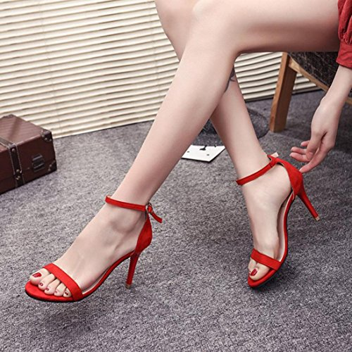 High Fashion Ankle Heels Strap Shoes Strappy Open Barely Sandals Red Saihui Toe Sandals Ladies There Women dUSYtqt