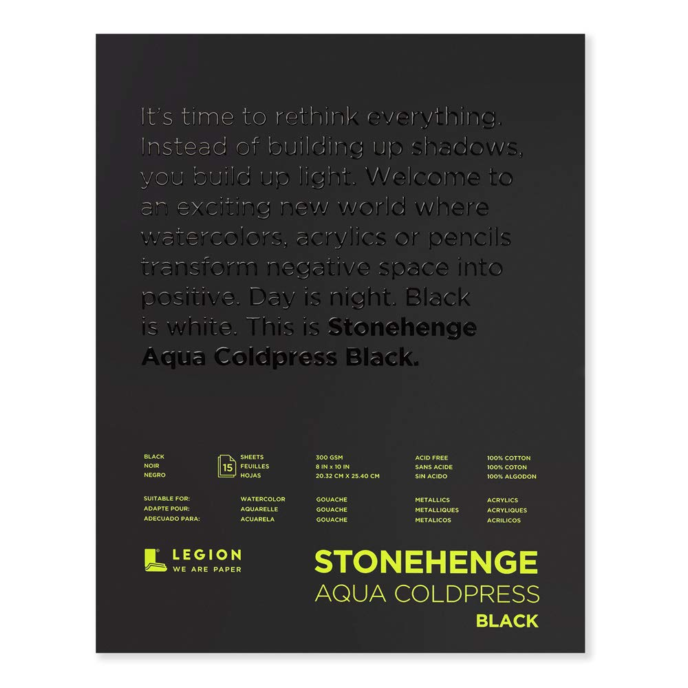 Stonehenge, 1 Legion Aqua Watercolor Pad, 140lb, Cold Press, 8 by 10 Inches, Black Paper, 15 Sheets by Stonehenge
