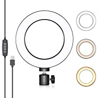 Neewer LED Ring Light 6-inch for YouTube Video Live Streaming Makeup Selfie, Desktop Mini USB Camera LED Light with 3…