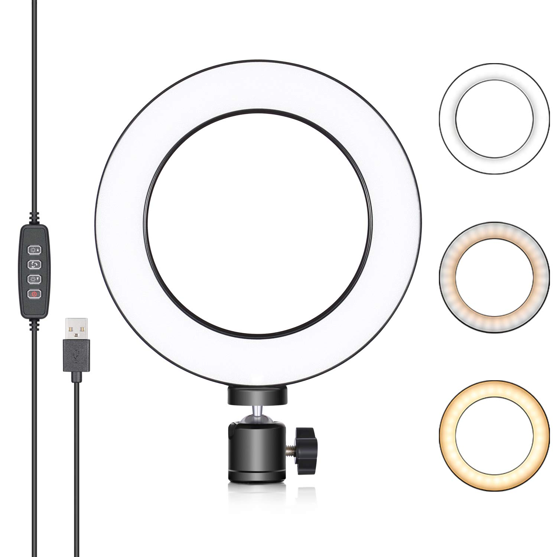 LED USB Light Bracket Ring Light Tone 3 Color Adjustable Camera Light Desk Light Lamps