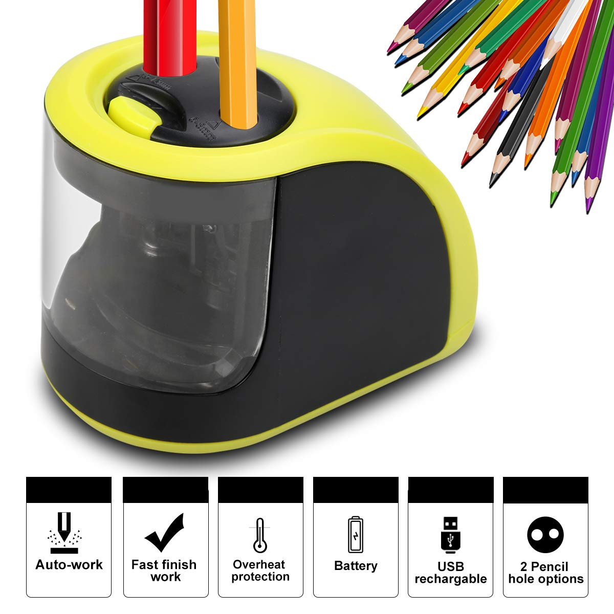 Electric Pencil Sharpener - Rechargeable Pencil Sharpener with USB or Battery Operated - 2 Holes(6-8mm & 9-12mm) - Perfect Gift for Kids, Artist, Student, Professionals (batteries not included) by Li LightSame