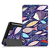 "Fintie SlimShell Case for Fire 7 2015 - Ultra Slim Lightweight Standing Cover for Amazon Fire 7 Tablet (will only fit Fire 7"" Display 5th Generation - 2015 release), Midnight Fish"