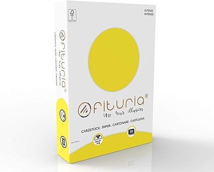 OFITURIA Pack 50 Cartulinas Color Amarillo Tamaño A4 180g: Amazon.es: Oficina y papelería