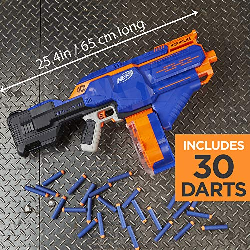 61uCgCieMXL - Infinus Nerf N-Strike Elite Toy Motorized Blaster with Speed-Load Technology, 30-Dart Drum, and 30 Official Nerf Elite Darts for Kids, Teens, and Adults