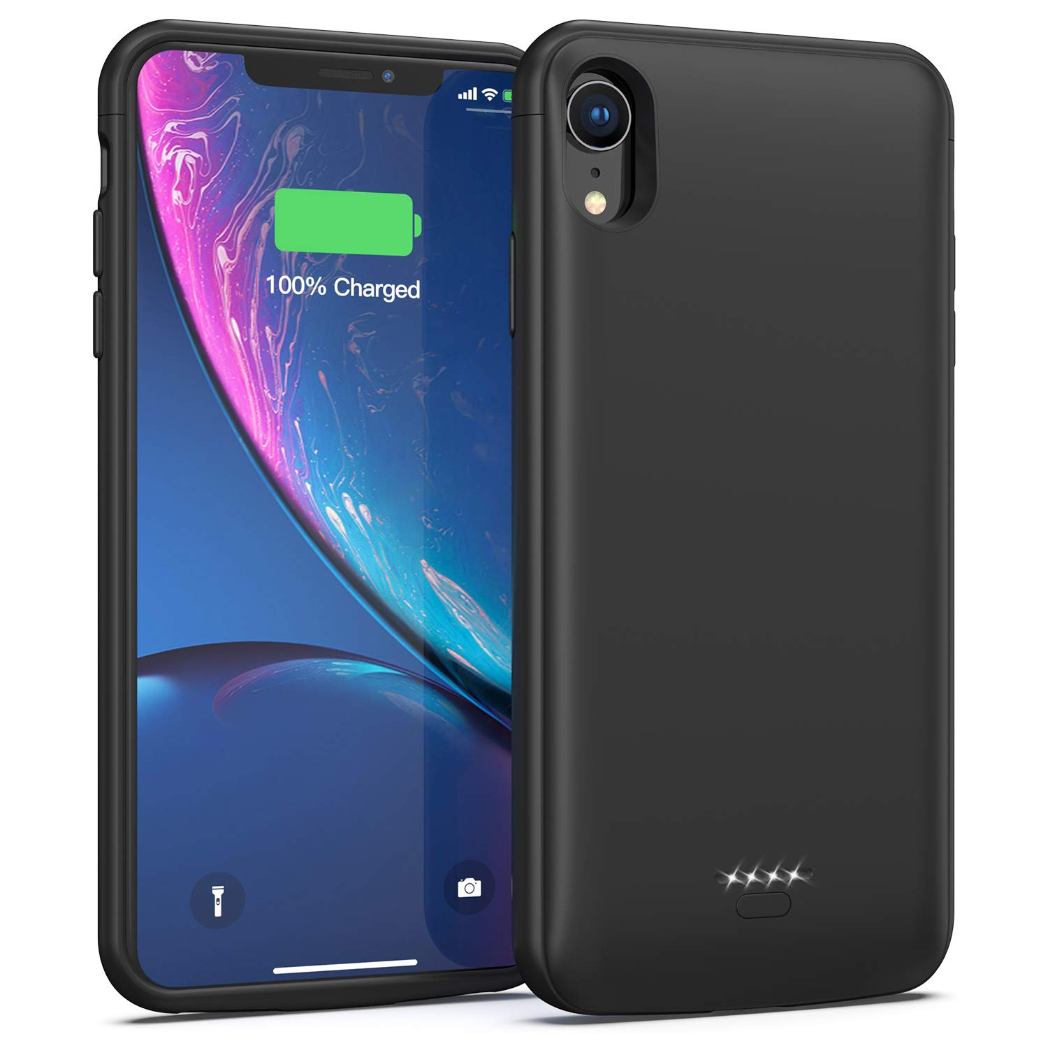 Battery Case for iPhone XR, 5000mAh Portable Charging Case Protective Extended Battery Charger Case Compatible with iPhone XR (Black) Lonlif XDL-613M