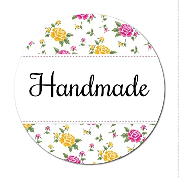 Handmade or homemade stickers 30mm diameter floral design handmade