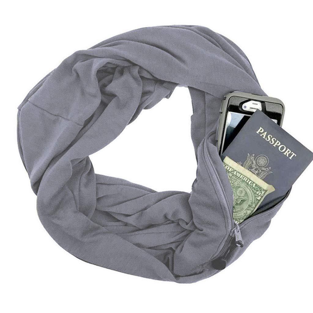 Dabixx Womens Unisex 165-180cm 5 Colori Secret Hidden Zipper Pocket Infinity Loop Sciarpa Tessuto a Maglia Inverno Caldo Colore Solido Anello Coperta Wrap Scialle - Nero