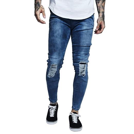 LuckyGirls Pantalones Vaqueros Hombre Rotos Elasticos Originales Slim Fit Skinny Jeans de Moto Casuales Pantalón Moda Streetwear: Amazon.es: Ropa y ...