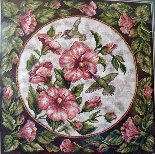 (Dimensions Needlepoint Kit Hummingbirds On Floral Hibiscus Pillow 2448 By Loretta Moskal 1996)