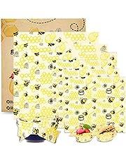 Beeswax - Wraps, BALFER Bees Wax Food Storage Wrap, Eco Friendly, Reusable, Suitable for Kitchen Food Fruits Vegetables Sandwiches etc (6 Wraps, 4 Sizes)