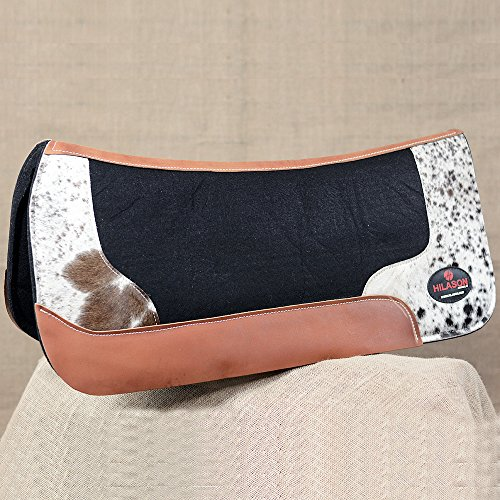 (HILASON WESTERN WOOL FELT GEL SADDLE PAD W/COWHIDE LEATHER - BLACK)