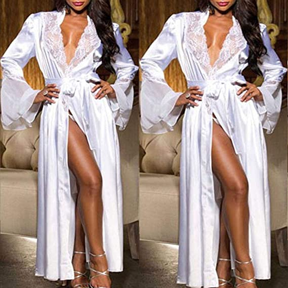 Kimono Batas Mujer, ❤ Modaworld Vestido de Kimono de Seda Larga de Seda Sexy para Mujer Babydoll Bata de baño de lencería de Encaje Conjunto Ropa ...