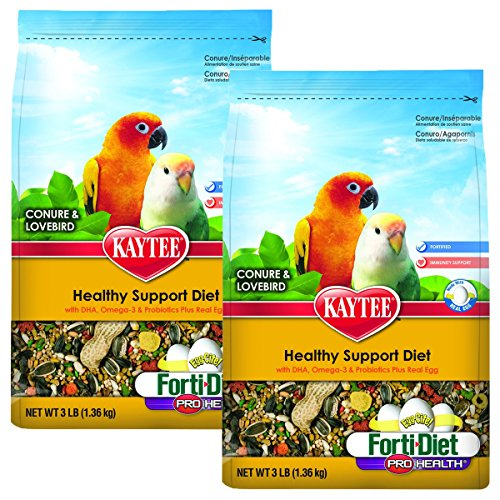 - Kaytee Forti-Diet Pro Health Egg-Cite! Conure & Lovebird Food, 2 pack 3-lb bags
