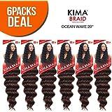 Harlem125 Synthetic Hair Braids Kima Braid Ocean Wave 20 (6-Pack, 1B) by Harlem 125