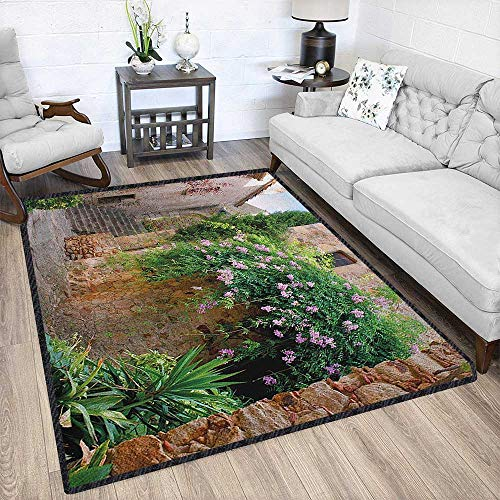Landscape Colorful Area Rug,Summer Garden Flowers Marigold Stones Antique Ancient House in Spain Art Print Waterproof and Easy Clean Multicolor 67