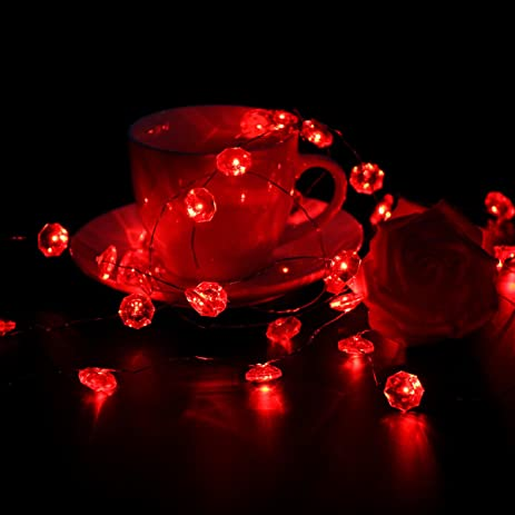 LEORX Valentines Day Lights Red Diamond Copper Wire Lights For Valentine  Day Decorations  10 Ft