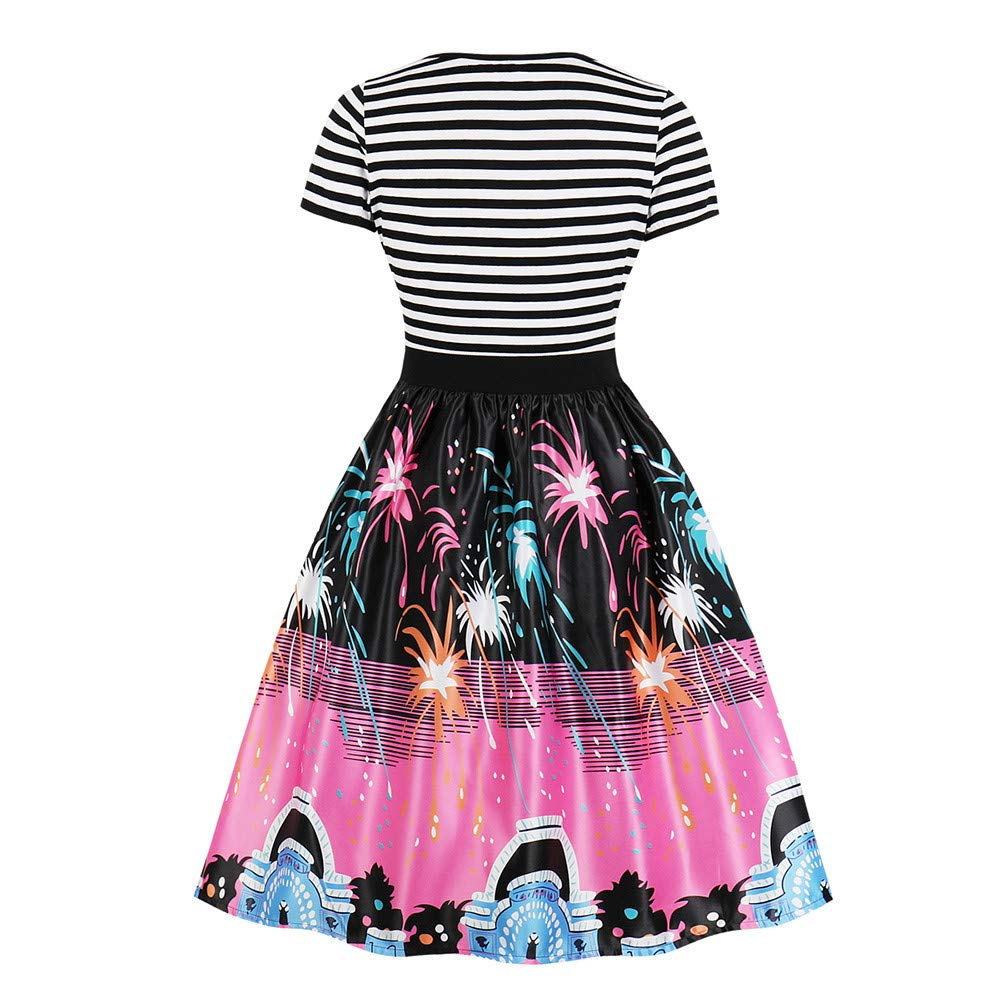 premium selection d4bb0 741ef HWTOP Rockabilly Kleider Damen Elegant Langarm Kostüm Kleid ...
