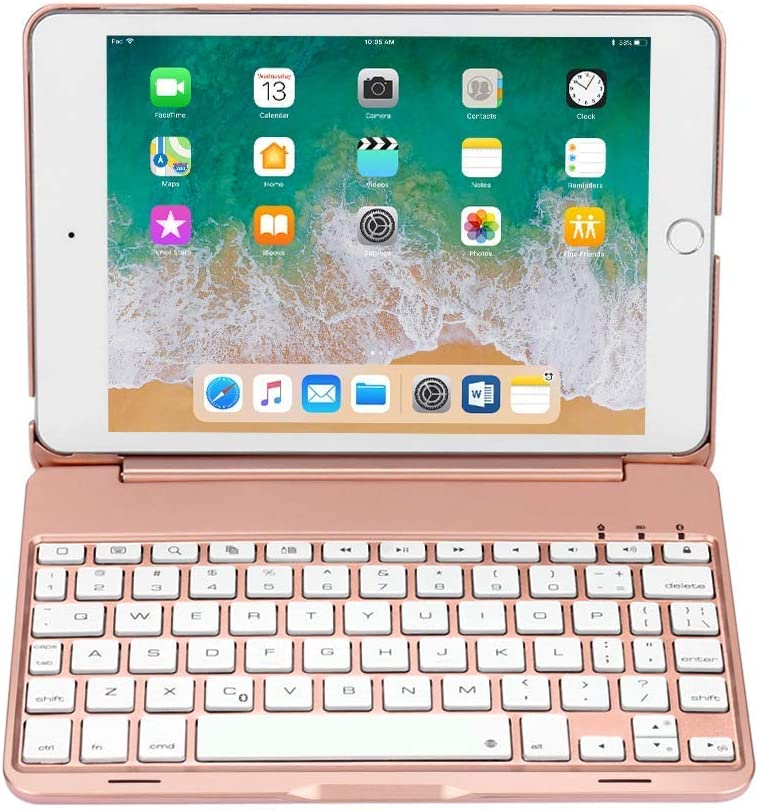 TechCode 7 Color Folio Backlit Light Colorful bluetooth Keyboard Case With Executive Multi Function Case for iPad Mini 4 7.9 inch 7.9 inch Backlit keyboard case for iPad Mini 4