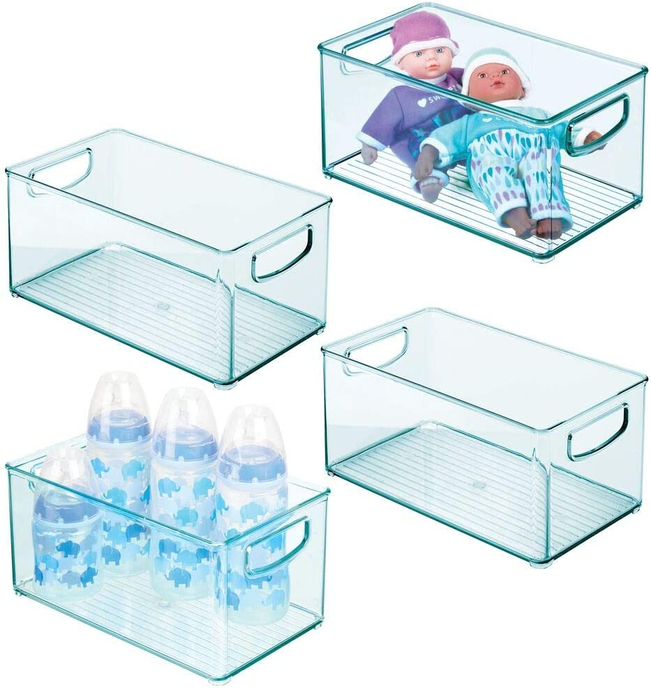 mDesign Deep Storage Organizer Container for Kids/Child Supplies in Kitchen, Pantry, Nursery, Bedroom, Playroom - Holds Snacks, Bottles, Baby Food, Diapers, Wipes, Toys - 10