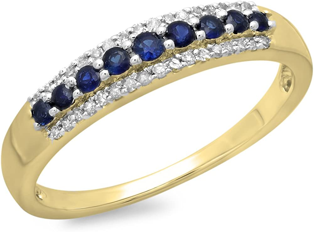 Dazzlingrock Collection 10K Round Gemstone & Diamond Ladies Anniversary Wedding Band Stackable Ring, Yellow Gold
