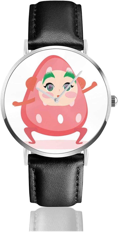 Kawaii Strawberry Reloj de Pulsera Temporizador Deportes Adolescentes Estudiantes Reloj de Cuarzo Funciona con Pilas de 38 mm de diámetro