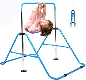 My Quality Life Gymnastics Bar Kids Expandable Gymnastic Bars Equipment for Home Adjustable Height Folding Kip Junior Training Bar 3-7 Years Old