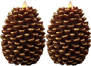 Eldnacele LED Pine Cone Candles Moving Wick, Battery Operated Flameless Candles with Timer Unscented Wax Pinecone Candles Brown 2 Pack for Christmas Home Party Decoration