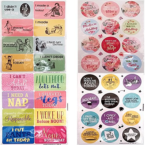 Novelty Stickers / Autocollants Because Adulting is Hard!! Includes 8 Large 7.5 in x 9.5 in. Classic & Nostalgic Stickers