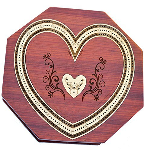 (Heart Shape Octa 3 Track Cribbage Board Game Set with 9 Metal Pegs, 2 Decks Of Cards With Storage)