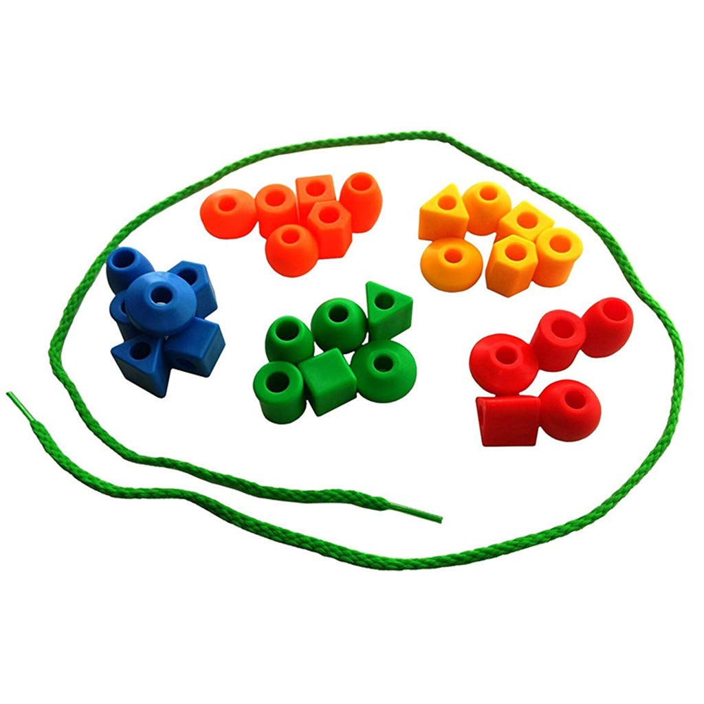 MHDGG Kids Toy Color Shape Activities Fine Motor Skills Toy 32 Plastic Beads and 3 Thread Strings for Toddlers and Kids Lacing Beads Set