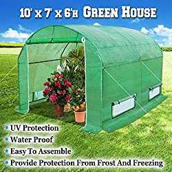 BenefitUSA GH055 Larger Walk in Outdoor Canopy Gazebo Gardening Greenhouse, 10'x7'x6', Green