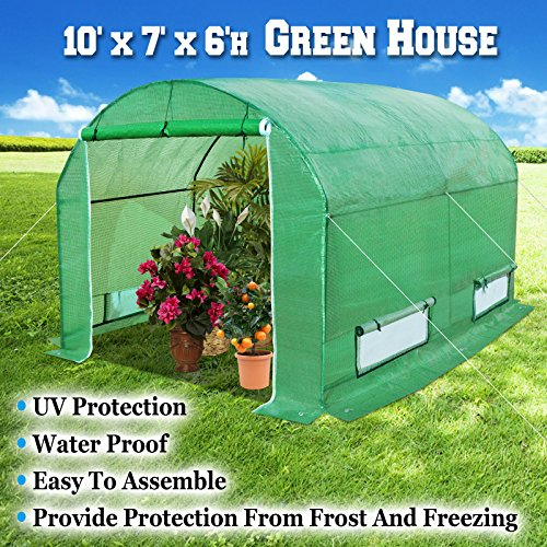 BenefitUSA GH055 Larger Walk Canopy Gazebo Outdoor Gardening Greenhouse, 10'x7'x6′, Green