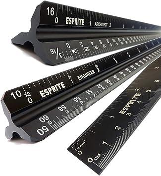 3pcs Metal Aluminium Engineer Triangular Scale Ruler Scale Ruler Architect