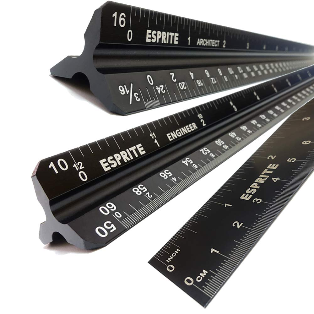 Architectural Scale Ruler, Engineering Scale and 12 inch Metal Ruler Set, Machinist Ruler Triangular Scale Drafting Ruler Architecture Ruler, Laser Etched Metal Scale Rulers-3 PCS by Esprite
